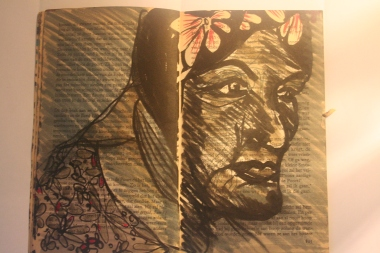 32x24 cm ink on old book page
