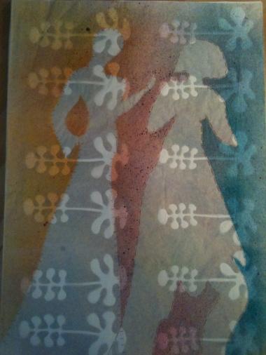 100x70 cm acrylic on craft paper and stitching silk thread