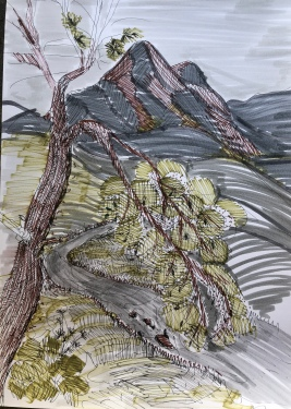 Camlibel, Girne North Cyprus 29x41 water clor, ink brush, ink pen, may 2019